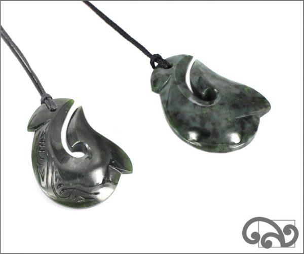 medium greenstone fishhook pendants