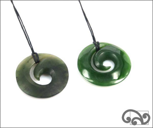 Inner koru greenstone pendants