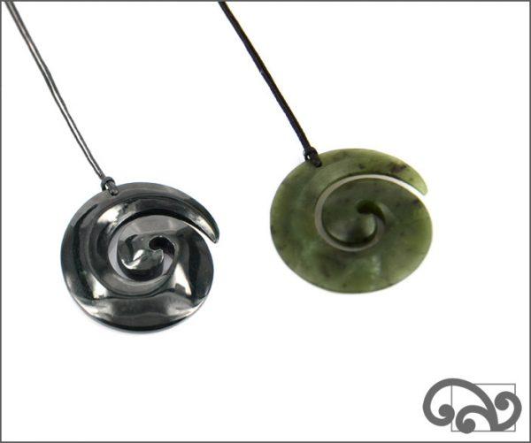 Medium koru greenstone pendants