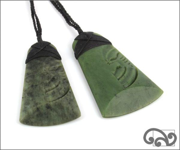 Large greenstone adze with moko