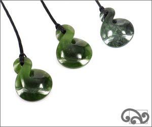 Greenstone single twist pendants