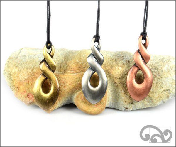 Triple twist zinc pendants