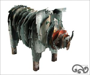Corrugated iron boar piglet