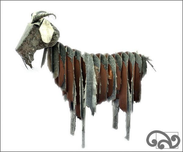 Corrugated iron goats