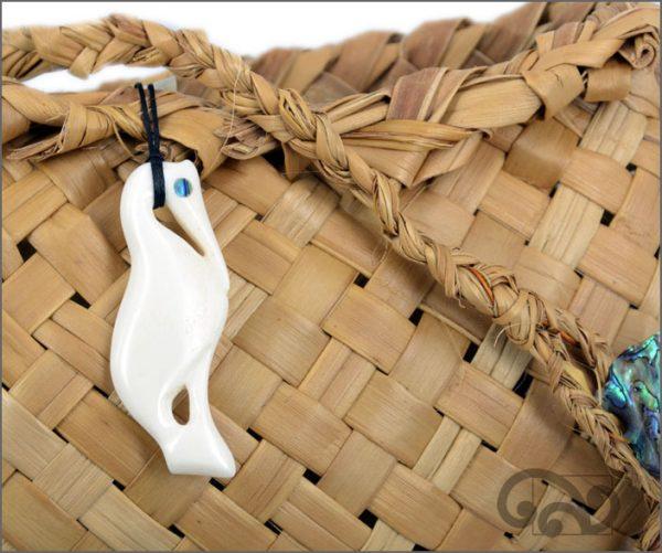White heron bone carving