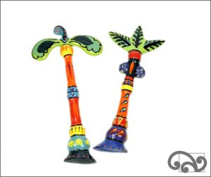 Ceramic palm trees and ceramic nikau trees