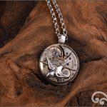 Steampunk silver swallow pendant