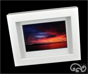 Rangitoto sunrise in white shadowbox