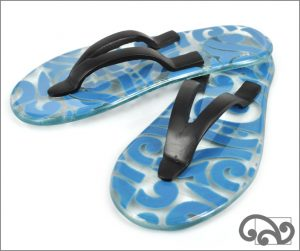 Glass jandals koru design, denim blue