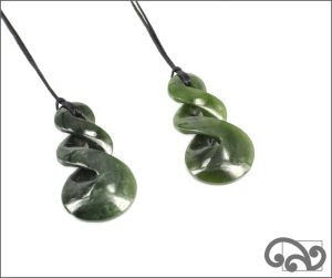Double twist greenstone pendants