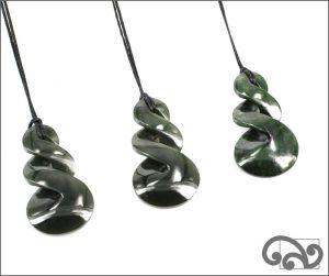 Double twist greenstone pendants