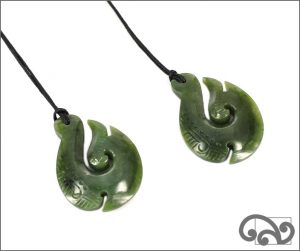 Greenstone necklace fishhook necklace