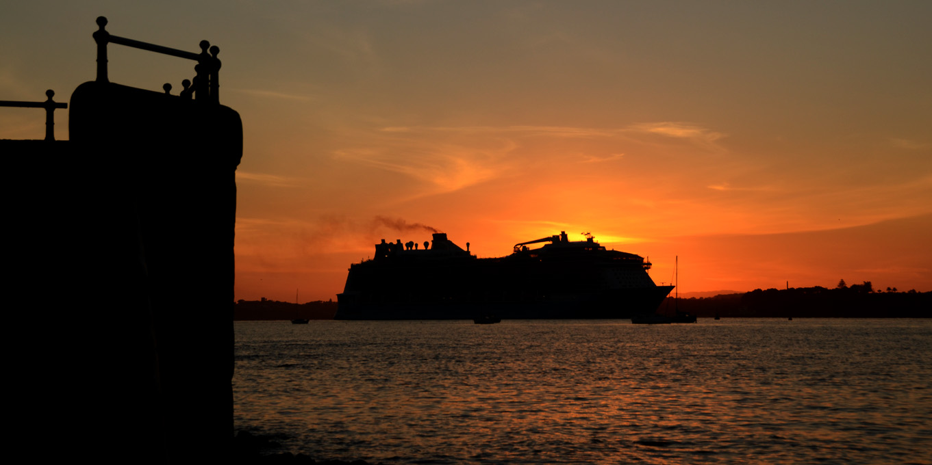 Cruise ship 'Ovation of the Seas' at sunrise
