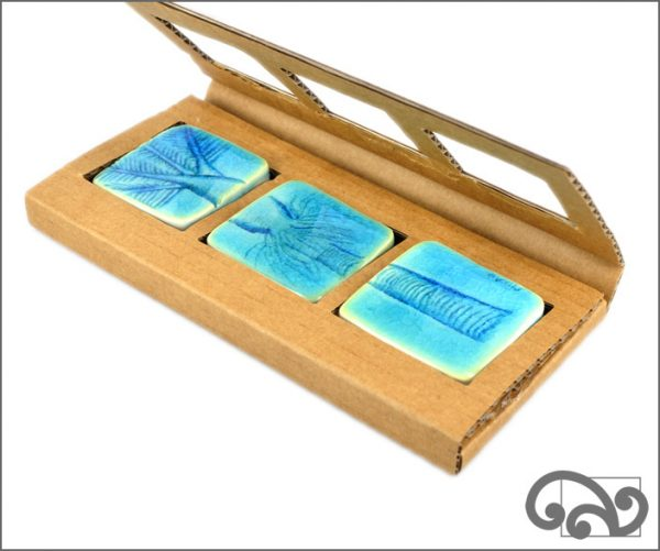 blue nikau tree ceramic touchstones