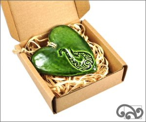Green ceramic heart with fishhook