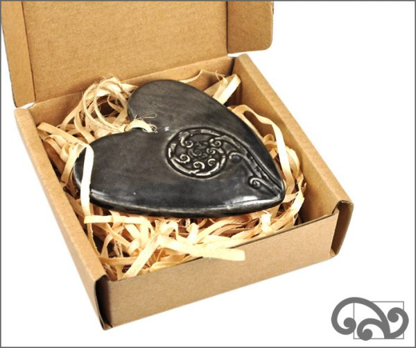 Black ceramic heart with koru