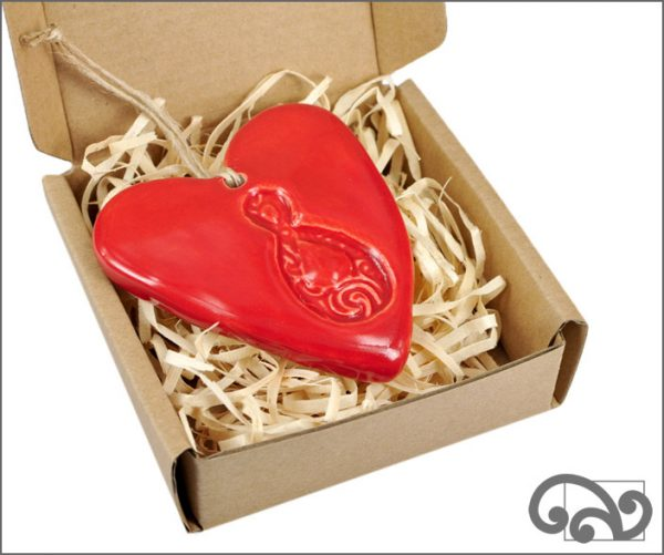 Red ceramic heart with twist