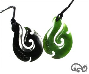 Greenstone hei matau fishhook necklace