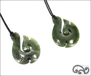Greenstone necklace fishhook necklace