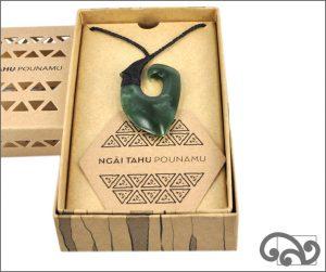Authentic dark greenstone fishhook pendant