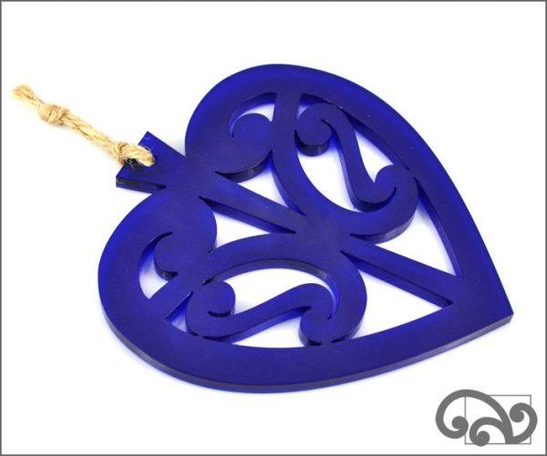 Resin heart decoration, blue