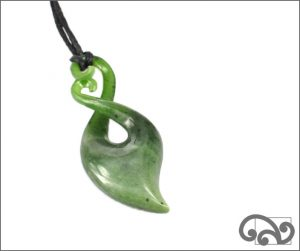 Double koru twist greenstone pendant