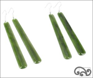 Pounamu long drop earrings