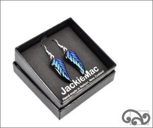 Blue fern glass earrings